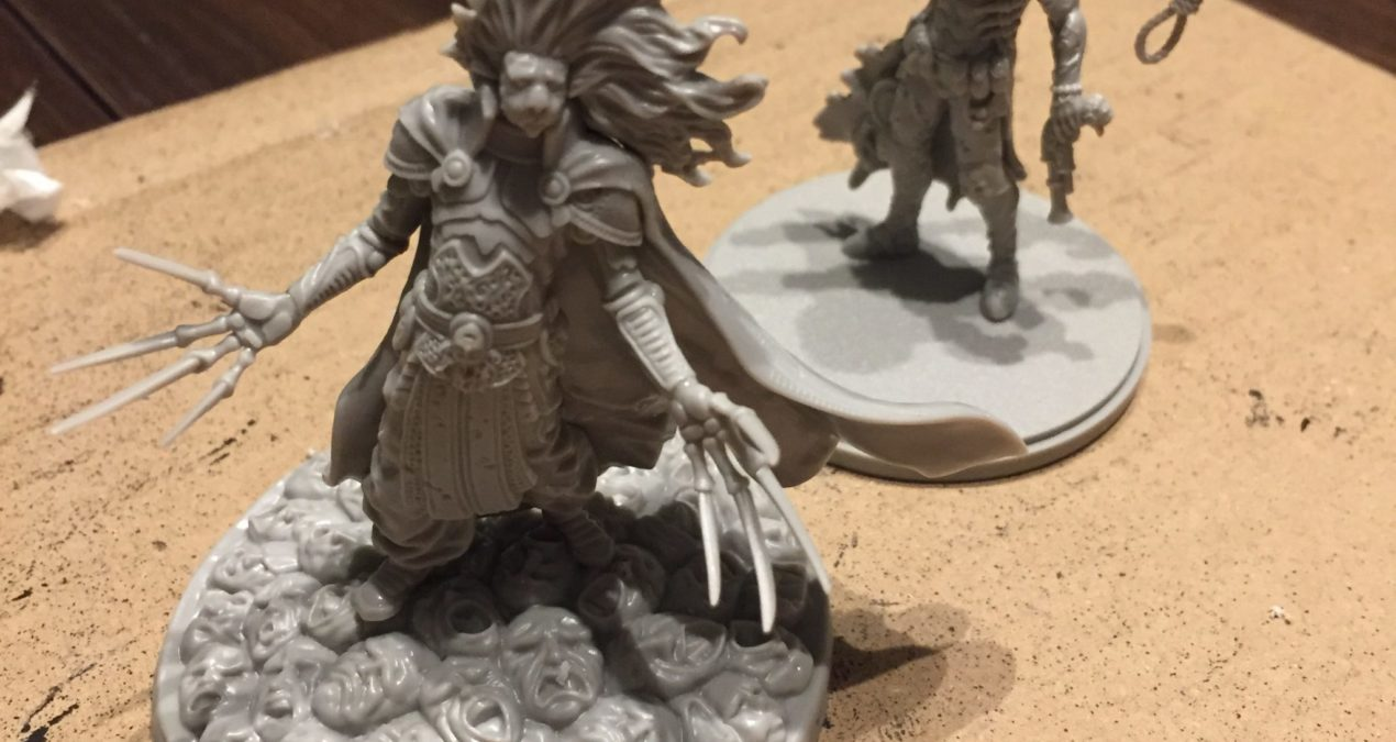 First Kingdom Death: Monster miniatures (Lion Knight and Manhunter)