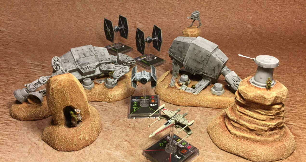 Custom AT-AT, AT-ST, Tauntaun and Miniput Rebels scenery for X-Wing Miniatures