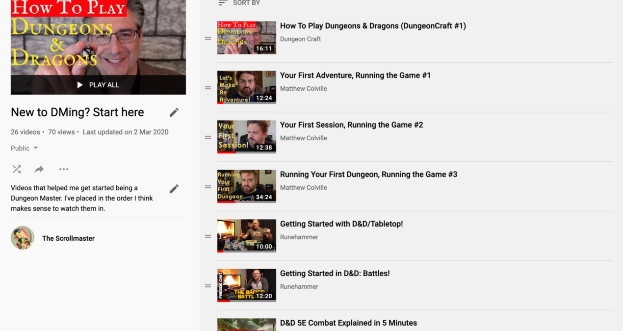 New Dungeon Master? Start with these Youtube videos